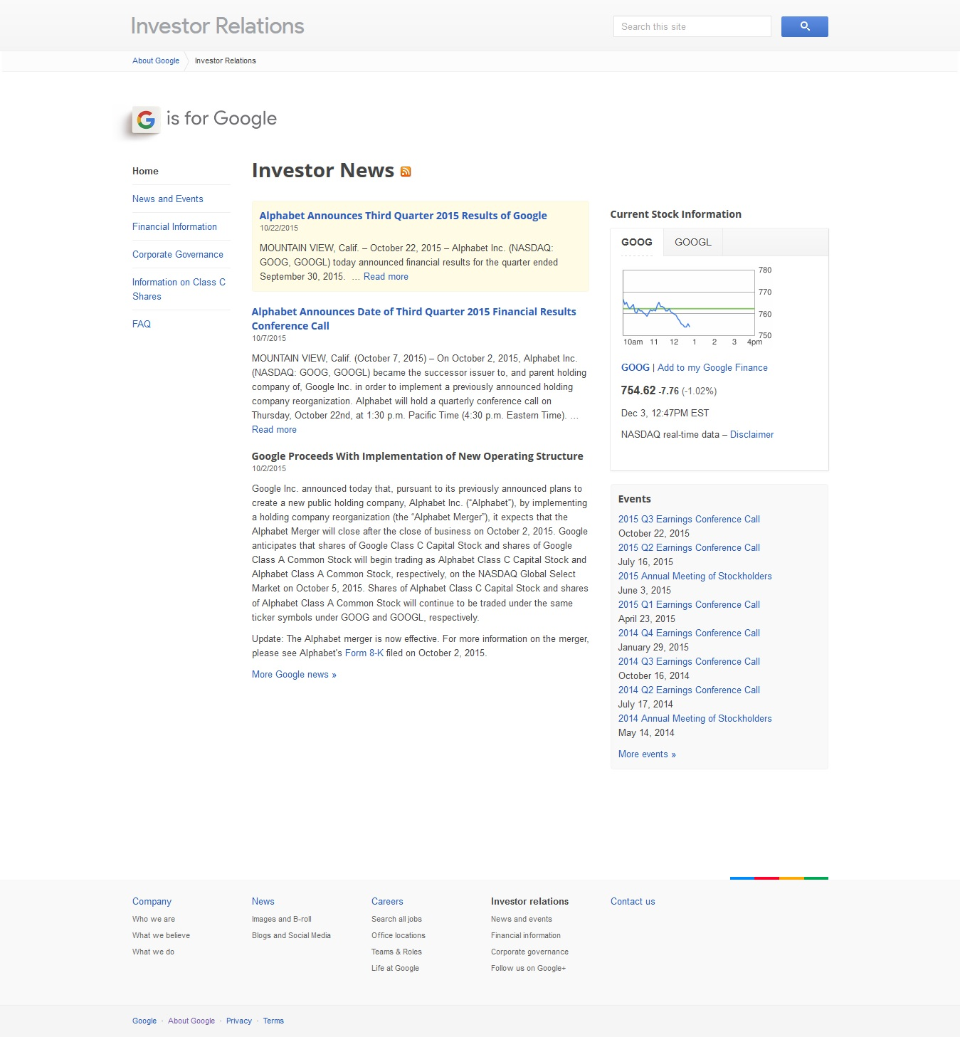 Google IPO Investor Relations Page