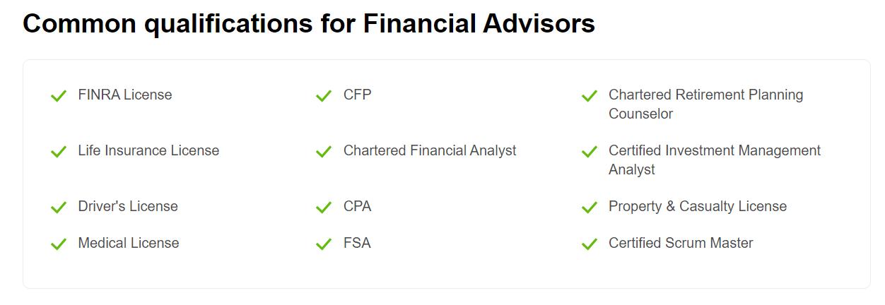 Financial Advisors Qualification