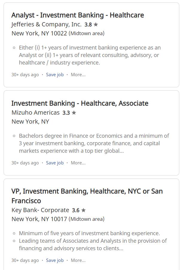 Healthcare investment banking associate jobs honn kong domashna rakia investment